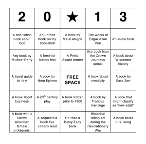 Brianna's Reading BINGO Card